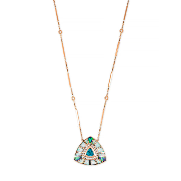 PAVE BLUE APATITE + OPAL SMALL INLAY VORTEX NECKLACE
