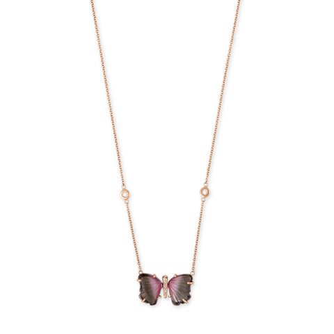 SMALL PINK + PURPLE TOURMALINE PAVE CENTER BUTTERFLY NECKLACE
