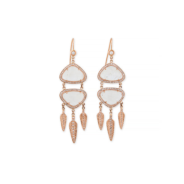 MOONSTONE DREAM CATCHER EARRINGS
