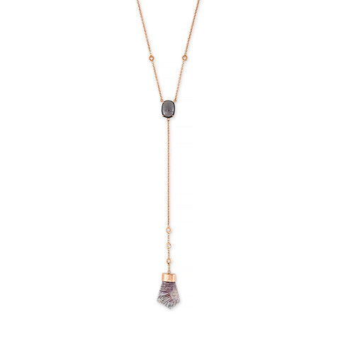 BLACK TOURMALINE + TOURMALATED QUARTZ DIAMOND Y NECKLACE