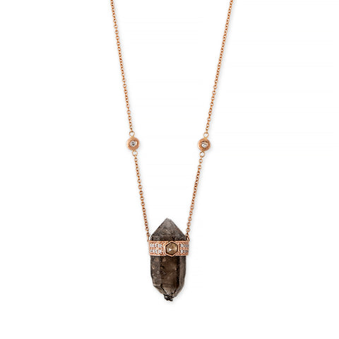 POINTED SMOKEY TOPAZ + HEXAGON DIAMOND CAP CRYSTAL NECKLACE