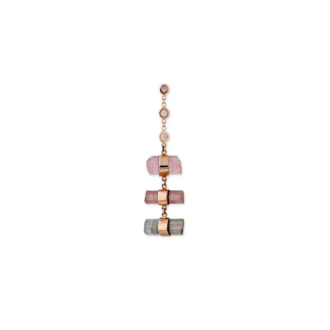 3 DIAMOND PINK TOURMALINE CRYSTAL BAR STEP STUD