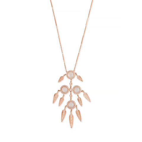 PAVE MOONSTONE + FEATHER SHAKER SMOOTH BAR NECKLACE