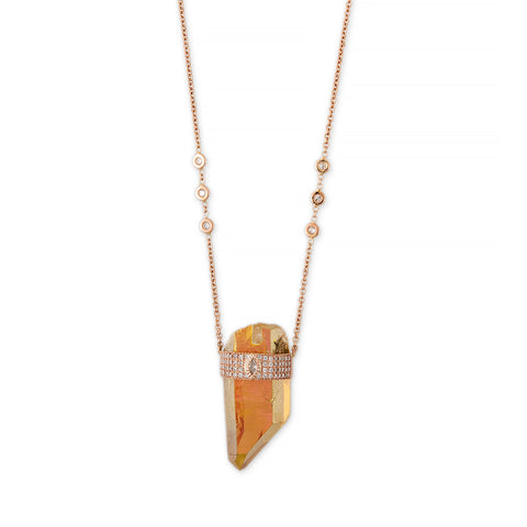 TANGERINE AURA QUARTZ MARQUISE DIAMOND CAP CRYSTAL NECKLACE