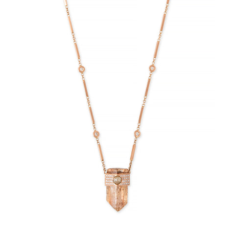 IMPERIAL TOPAZ + HEXAGON DIAMOND CAP CRYSTAL SMOOTH BAR NECKLACE