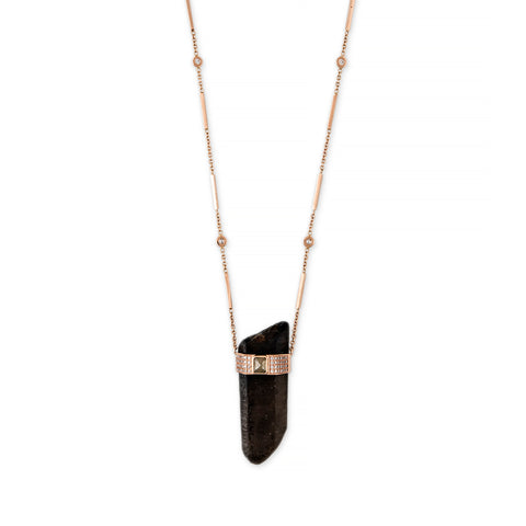 SMOKEY QUARTZ + RAW DIAMOND CAP CRYSTAL SMOOTH BAR NECKLACE