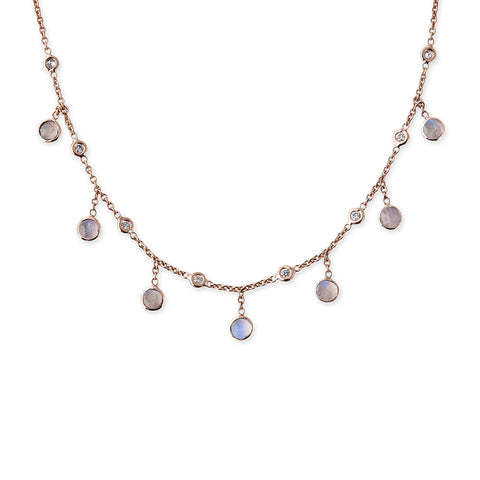 DIAMOND + ROUND MOONSTONE DROP NECKLACE