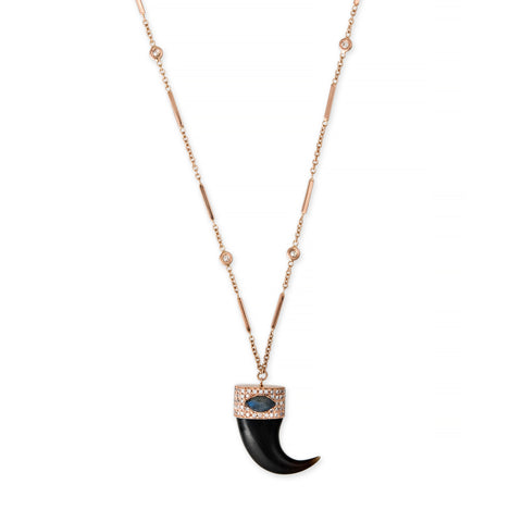 BLACK TUSK WITH MARQUISE LABRADORITE CAP NECKLACE