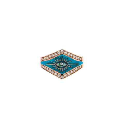 PAVE DIAMOND TURQUOISE EYE BURST INLAY V RING