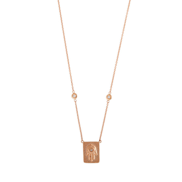 1 DIAMOND RECTANGLE HAMSA SATIN FINISH NECKLACE