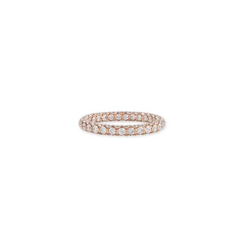LARGE THREE SIDED PAVE DIAMOND RING