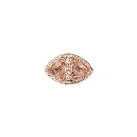 PAVE DOUBLE MORGANITE PYRAMID RING