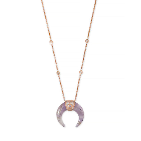 DIAMOND TEARDROP AMETHYST DOUBLE HORN NECKLACE