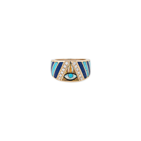 EYE CHEVRON OPAL INLAY RING