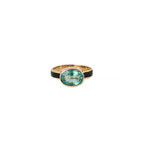 APATITE + ONYX INLAY SOLITAIRE RING