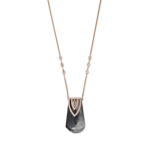 PHANTOM BLACK QUARTZ ALADDIN MARQUISE DIAMOND CAP NECKLACE