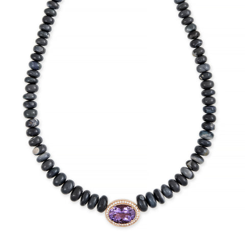 PAVE AMETHYST OVAL CENTER GREY OPAL BEADED NECKLACE