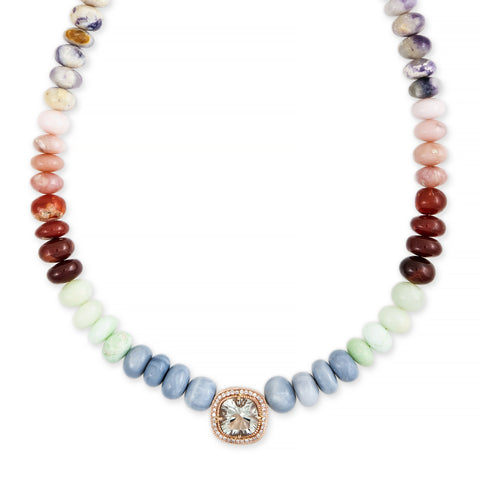 PAVE AQUAMARINE SQUARE CENTER MULTI OPAL BEADED NECKLACE
