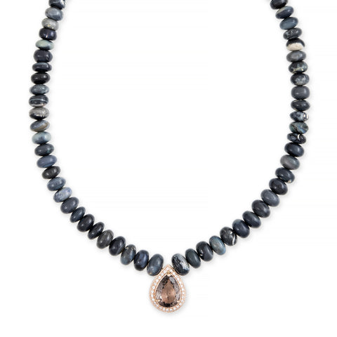 PAVE PURPLE TOURMALINE TEARDROP CENTER GREY OPAL BEADED NECKLACE