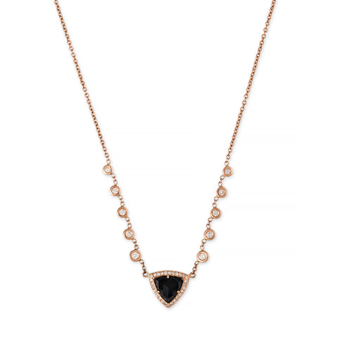 PAVE ONYX PYRAMID EMILY NECKLACE