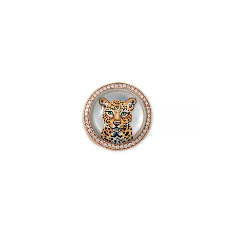 PAVE DIAMOND CUB MOTHER OF PEARL SIGNET RING