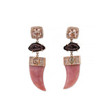 PAVE MORGANITE + PERUVIAN OPAL TUSK DIAMOND EARRINGS