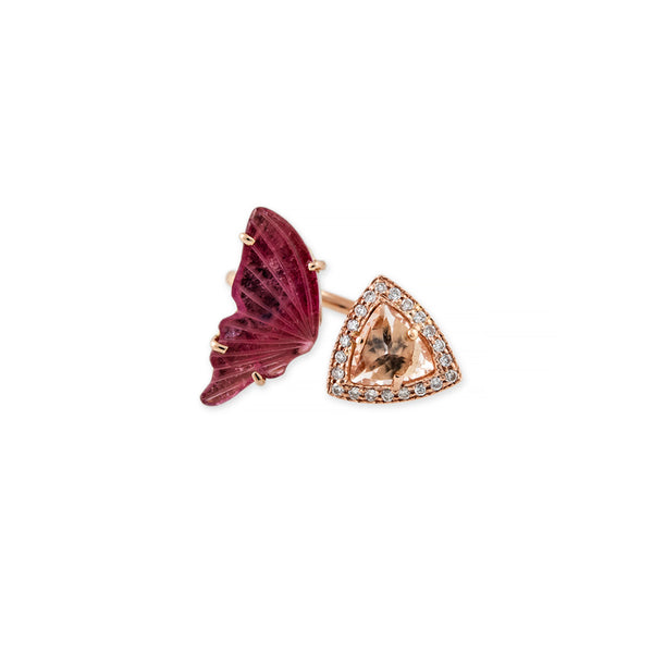 OPEN PINK TOURMALINE + PAVE PYRAMID BUTTERFLY RING