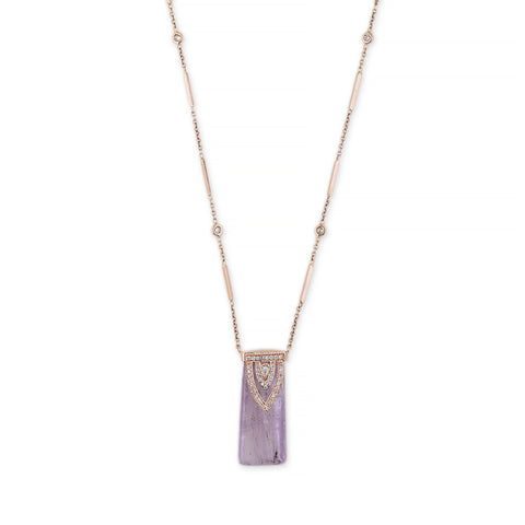 KUNZITE ALADDIN TEARDROP DIAMOND CAP NECKLACE