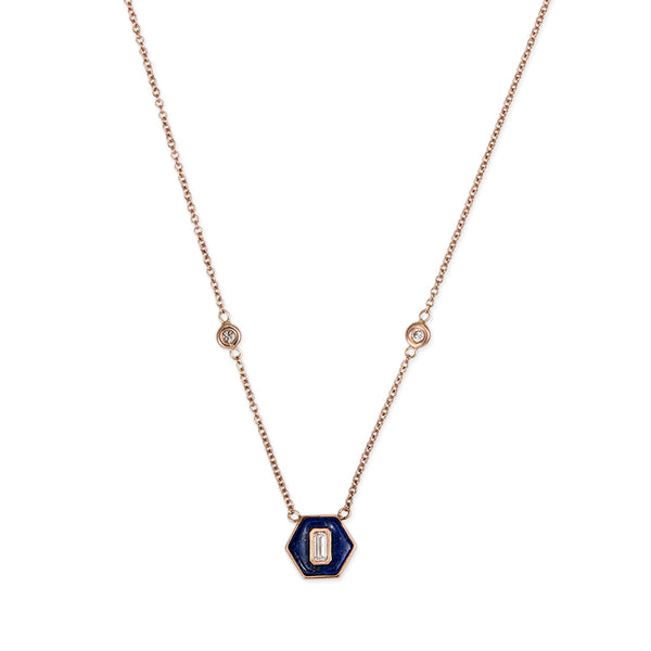 SMALL HEXAGON INLAY DIAMOND NECKLACE