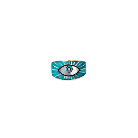 TURQUOISE + PEARL INLAY EYE BURST RING
