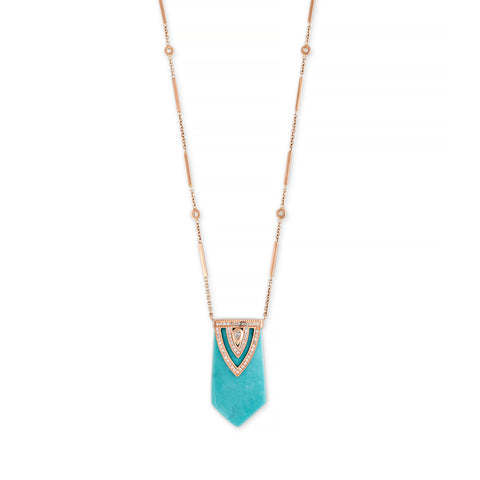 TURQUOISE ALADDIN TEARDROP DIAMOND CAP NECKLACE