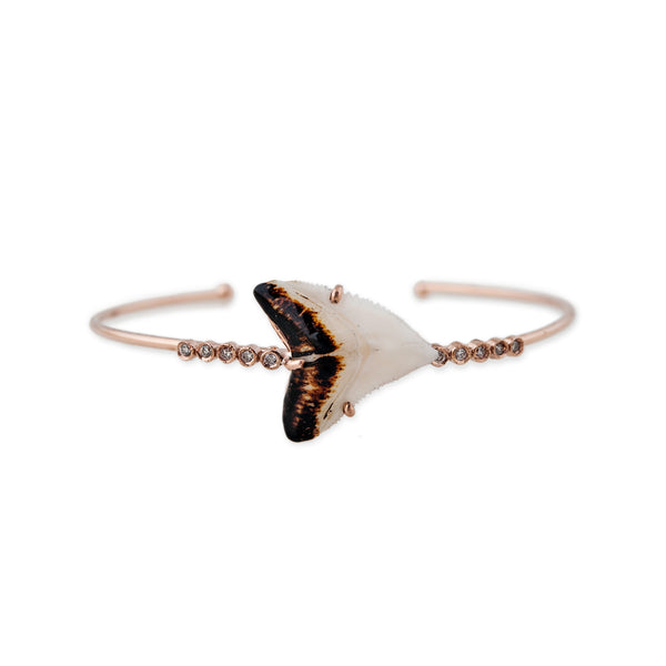 WHITE SHARK TOOTH 10 DIAMOND CUFF