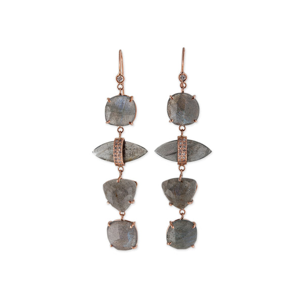4 LABRADORITE SHAPES DROP EARRINGS