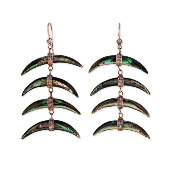 4 WIDE ABALONE HORN EARRINGS