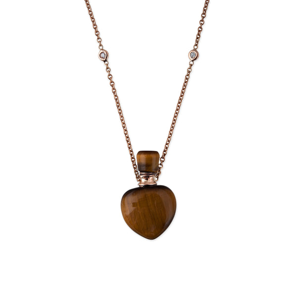 TIGERS EYE HEART POTION BOTTLE NECKLACE