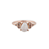 DIAMOND CLUSTER TEARDROP MOONSTONE RING