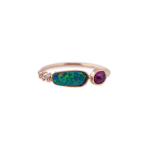 3 DIAMOND OPAL + RUBY RING