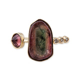 3 DIAMOND TOURMALINE SLICE RING