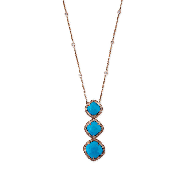 GRADUATED TURQUOISE AND DIAMOND NECKLACE
