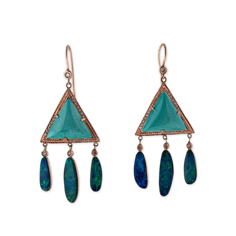 TURQUOISE TRIANGLE 3 OPAL SLICE DROP EARRINGS