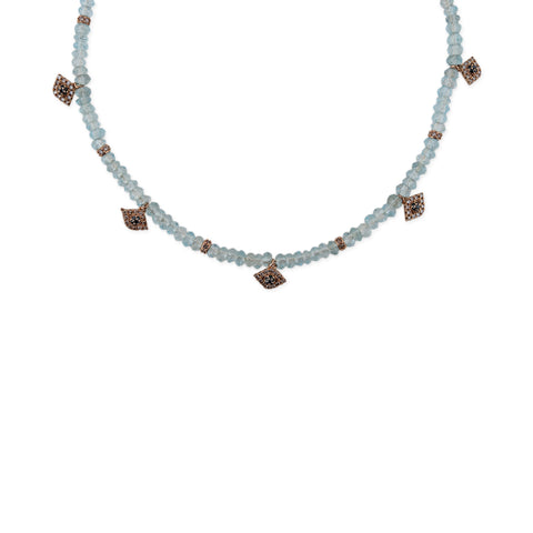 5 EYE CHARM AQUAMARINE CHOKER