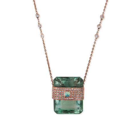 OPAL BAND AQUAMARINE BAGUETTE NECKLACE