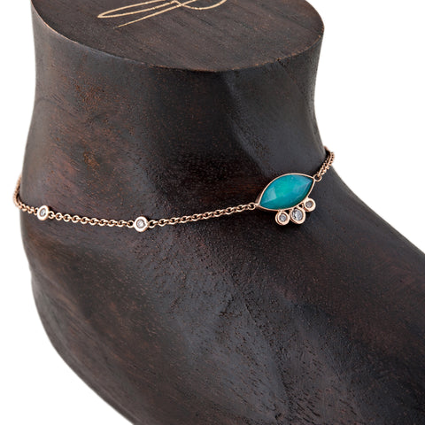 TURQUOISE MARQUISE DIAMOND ANKLET