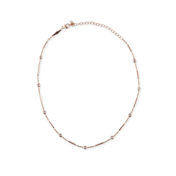 9 DIAMOND BAR CHAIN CHOKER NECKLACE