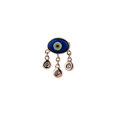 MARQUISE CERAMIC EYE 3 DIAMOND DROP EARRING