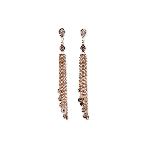 TEARDROP DIAMOND TASSEL STUD EARRINGS
