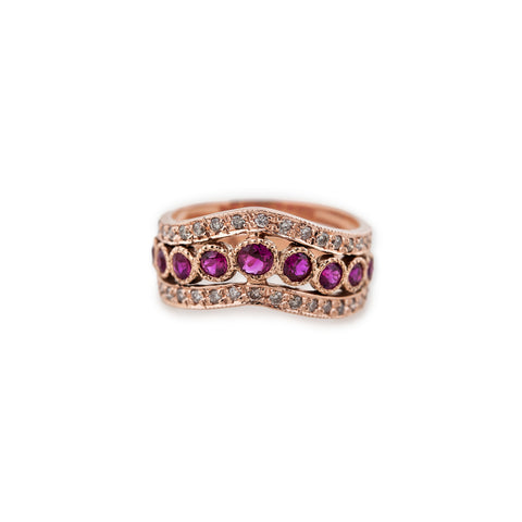 DOUBLE PAVE RUBY CROWN RING