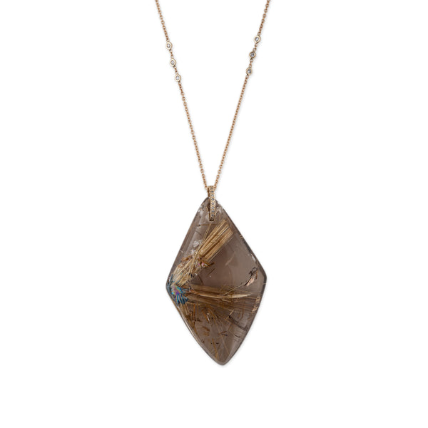 RUTILATED QUARTZ KITE PENDANT NECKLACE