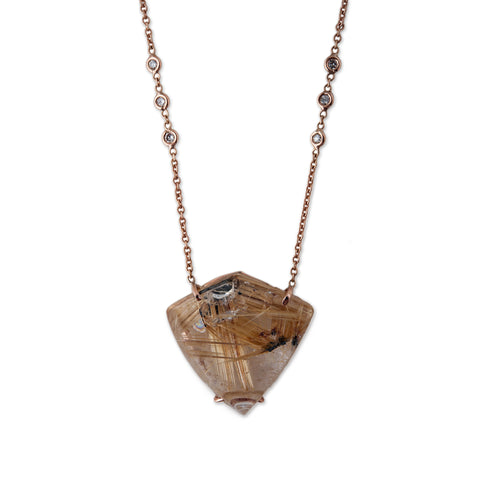 RUTILATED QUARTZ SHIELD NECKLACE