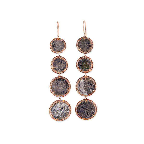 4 ANTIQUE COIN DROP EARRINGS